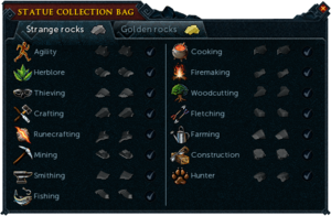 Statue collection bag interface (Strange rocks)