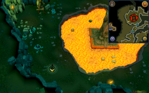 Scan clue Brimhaven Dungeon lower level in north-west chamber with central lava pool