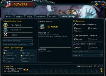 Powers (Combat Settings) interface