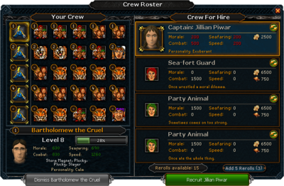 Crew Roster interface