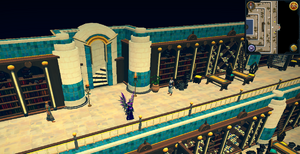 Emote clue Wave inside Grand Library of Menaphos