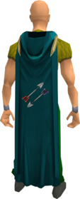 Hooded fletching cape equipped