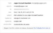 JAG protection email sender details