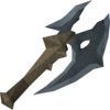 Off-hand gorgonite battleaxe detail