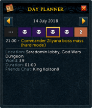 Day planner interface