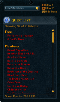 Quest List Sorted By Membership Requirement