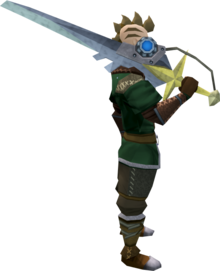 Augmented Saradomin sword equipped