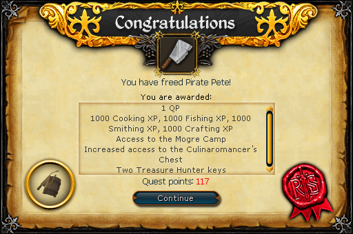 Recipe for Disaster (Freeing Pirate Pete) reward