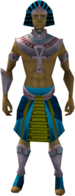 Pharaoh's outfit (blue, male) equipped