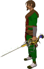 Off-hand serpentine rapier equipped