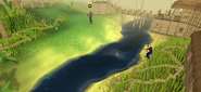 A player fishing in Shilo Village