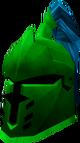 Steel heraldic helm (Guthix) detail