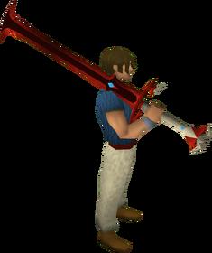Espada de duas mãos do dragão equipada