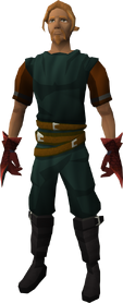 Red spiky vambraces equipped