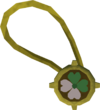 Dazzling two-leaf clover necklace detail