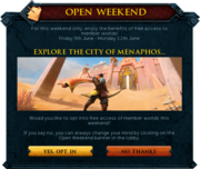 Open Weekend interface