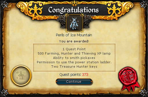Perils of Ice Mountain reward