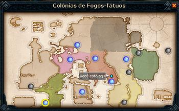 Mapa das Colônias de Fogos-Fátuos