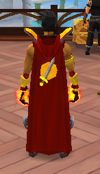 Retro hooded attack cape equipped