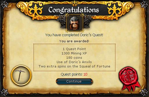 Doric's Quest reward