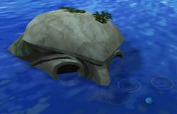 Submerged statue
