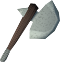 Volatile clay hatchet detail