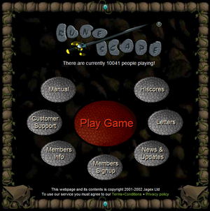 Runescape website 2003