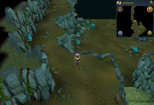 Scan clue Brimhaven Dungeon upper level west of south staircase