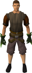 Green spiky vambraces equipped