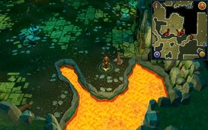 Scan clue Brimhaven Dungeon lower level in central wild dog chamber