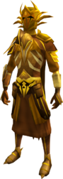 Golden warpriest of Zamorak set equipped