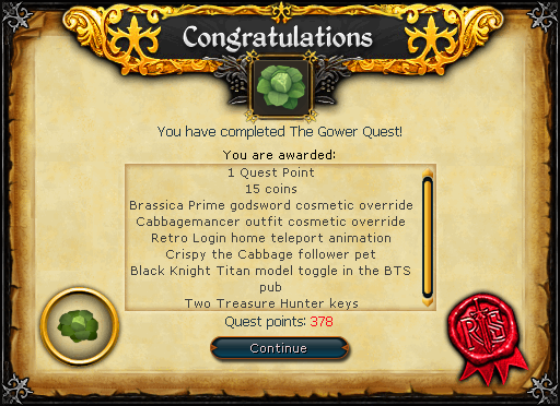 Gower Quest reward