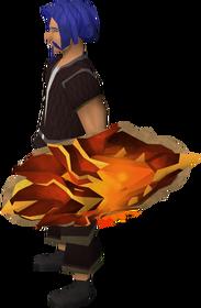 Escudo de fogo do dragão equipado