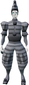 Ghostly clown outfit equipped