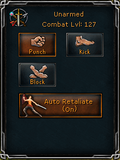 Combat styles interface