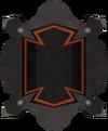 Black shield throwing disc detail