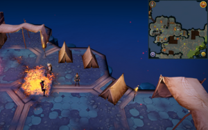Scan clue Heart of Gielinor near 3 tents, south-east of first threshold to Twin Furies