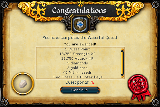 Waterfall Quest reward