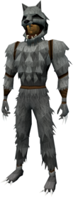 Werewolf outfit (grey, male) equipped