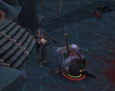 Lorde Drakan sendo morto