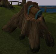 Strange chest in hollow tree stump