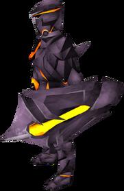 Obsidian kiteshield equipped