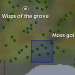 Mossy rock spawn location (Wisps of the Grove)