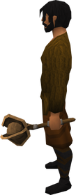 Off-hand bronze mace equipped