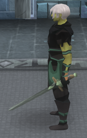 Off-hand kratonite longsword equipped