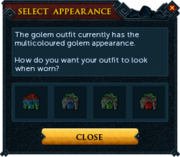 Magic golem outfit recolour interface