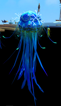 Electrifying blue blubber jellyfish