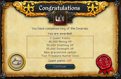 King of the Dwarves reward