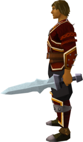 Off-hand steel ceremonial sword IV equipped