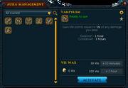 Aura management interface